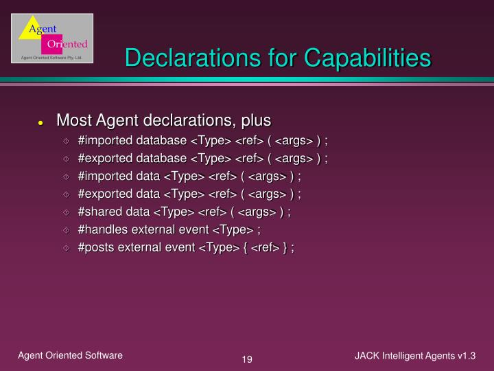Declarations for Capabilities