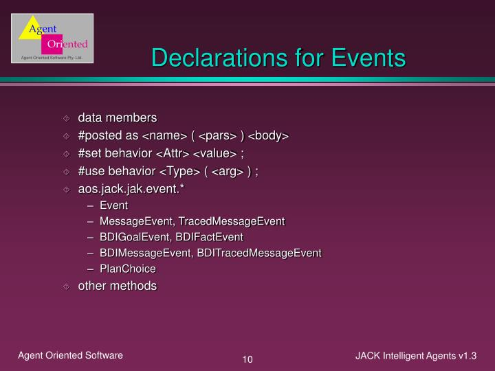 Declarations for Events