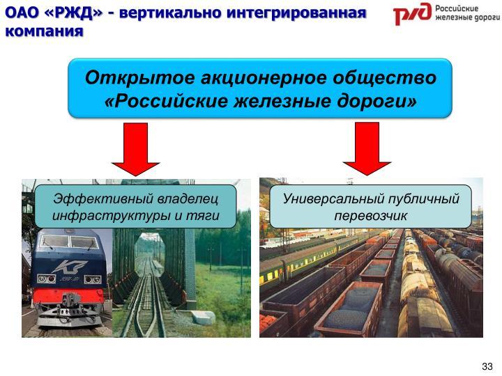 ОАО «РЖД» - вертикально интегрированная компания