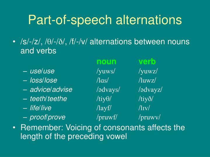 Part-of-speech alternations