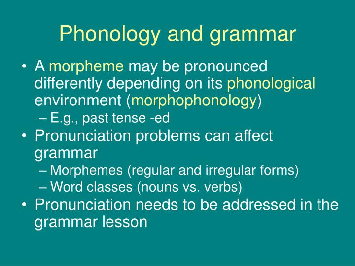 Phonology and grammar