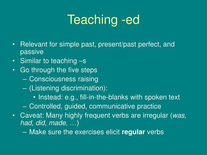 Teaching -ed