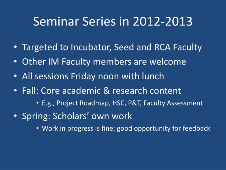 Seminar Series in 2012-2013