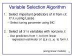 variable selection algorithm