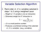 variable selection algorithm1