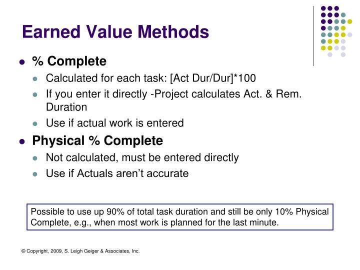 Earned Value Methods