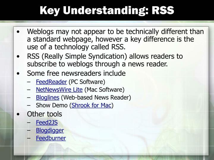 Key Understanding: RSS
