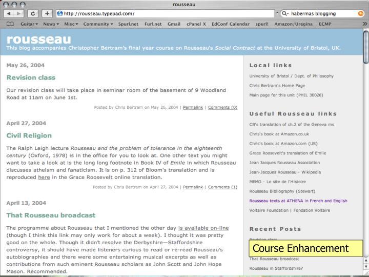 Course Enhancement