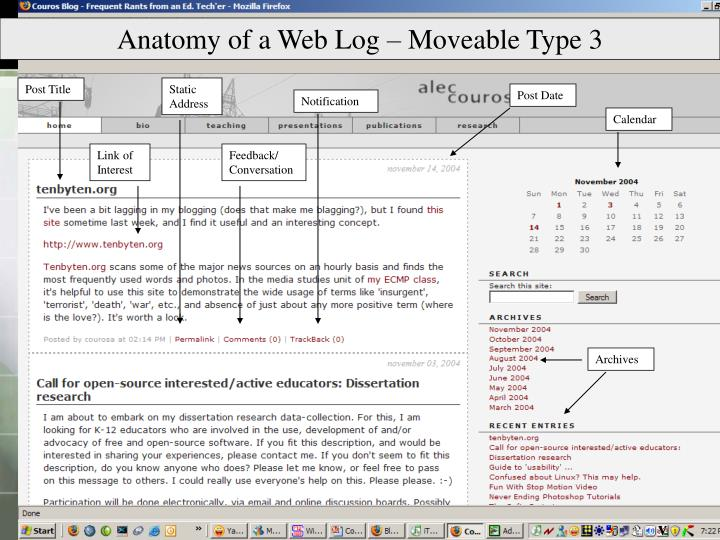 Anatomy of a Web Log – Moveable Type 3