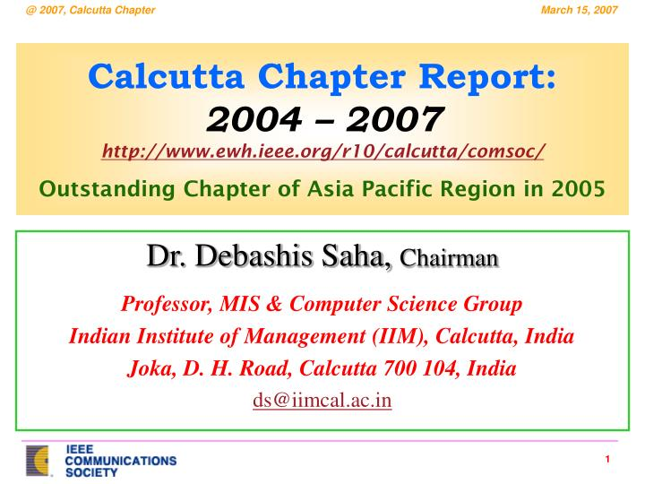 Calcutta Chapter Report