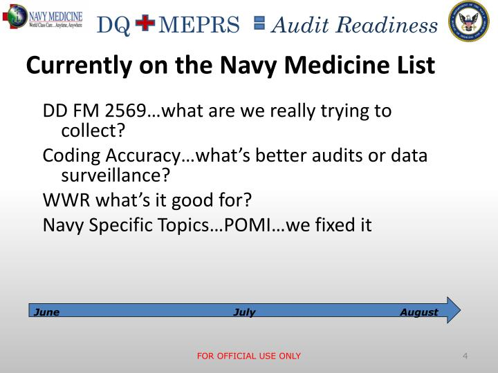 Currently on the Navy Medicine List