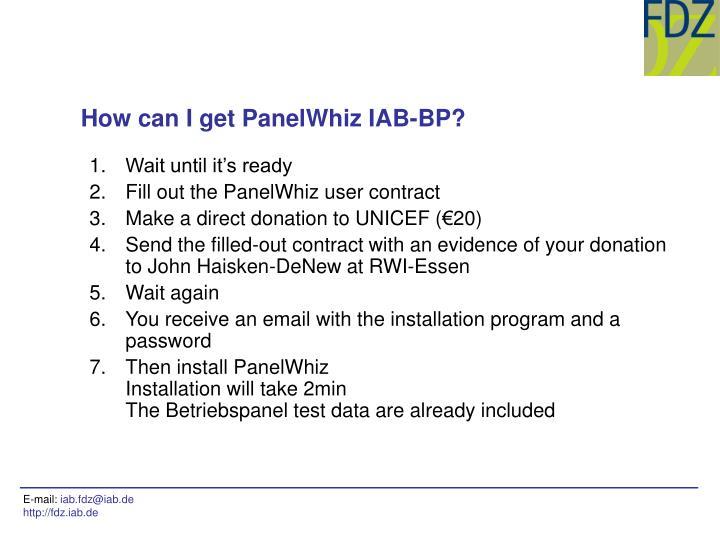 How can I get PanelWhiz IAB-BP?
