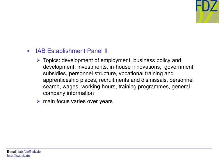 IAB Establishment Panel II