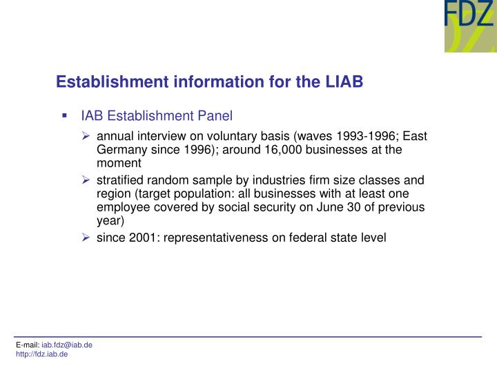 IAB Establishment Panel