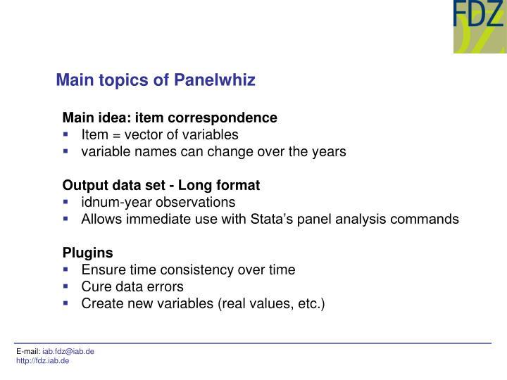 Main topics of Panelwhiz