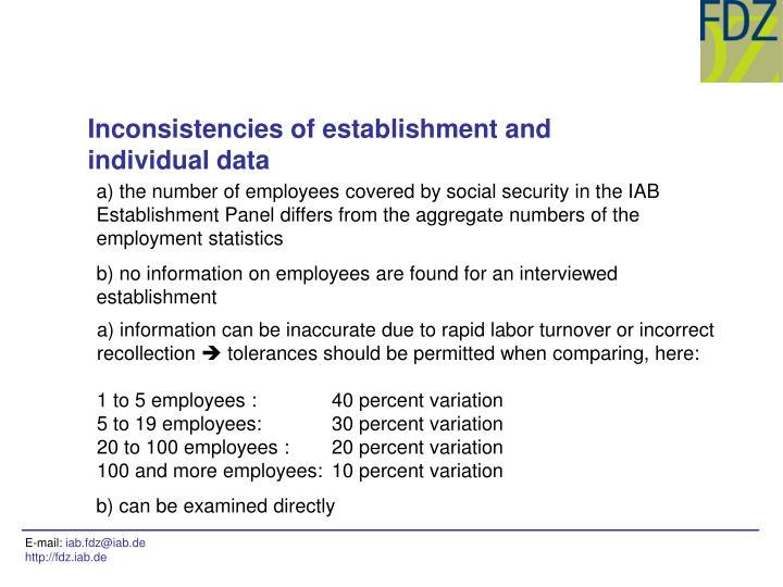 Inconsistencies of establishment and individual data