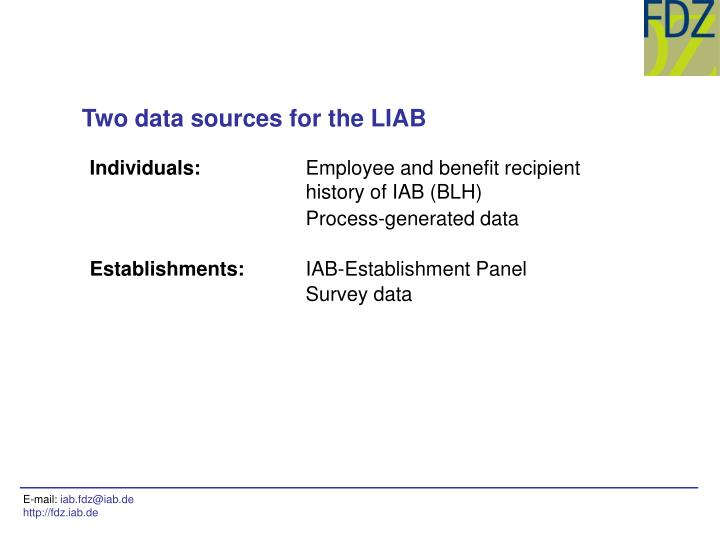 Two data sources for the LIAB