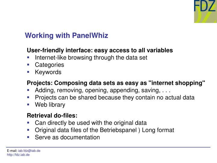 Working with PanelWhiz