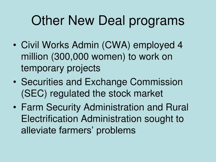 Other New Deal programs
