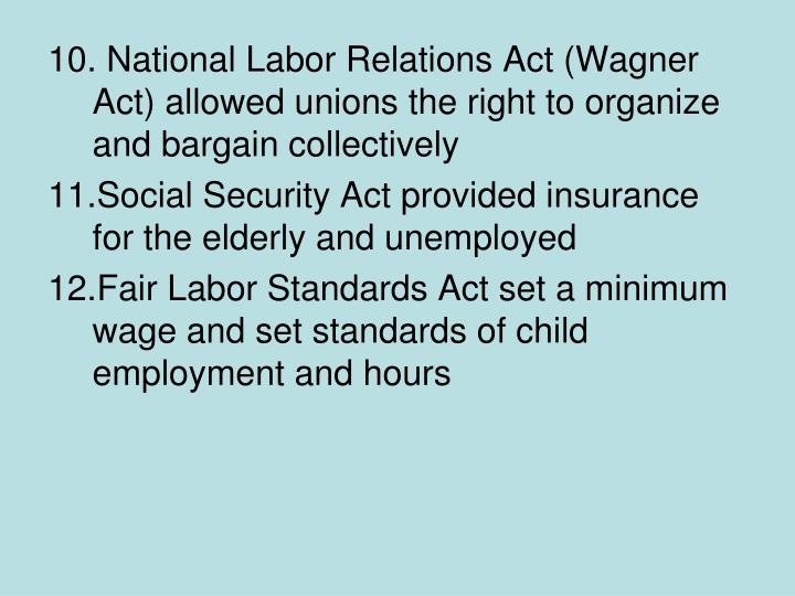 National Labor Relations Act (Wagner Act) allowed unions the right to organize and bargain collectively