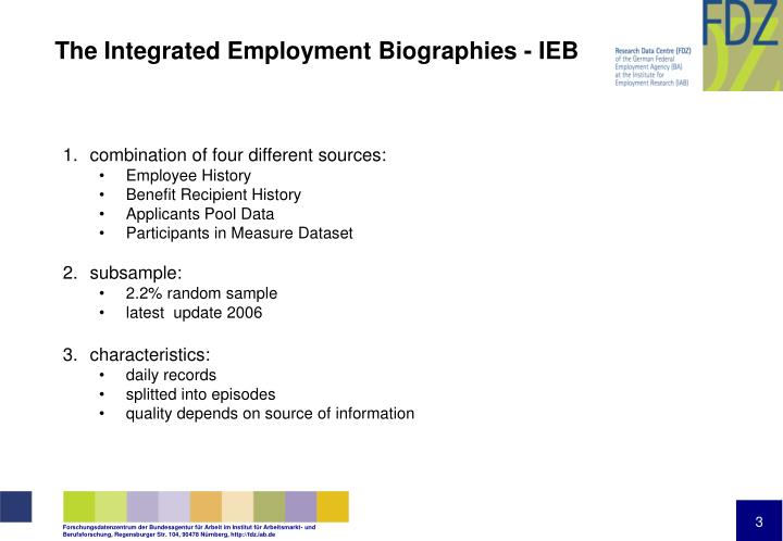 The integrated employment biographies ieb