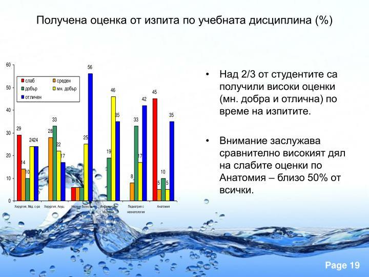 Над 2/3 от студентите са получили високи оценки (мн. добра и отлична) по време на изпитите.
