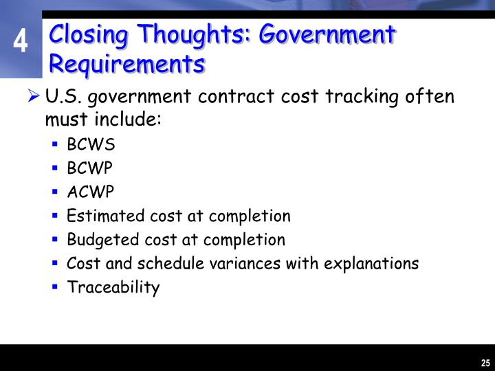 Closing Thoughts: Government Requirements