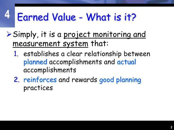 Earned value what is it