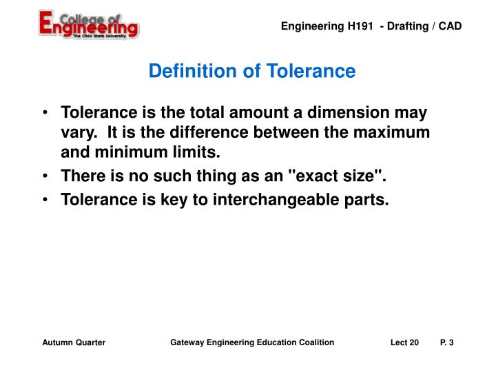 Definition of Tolerance