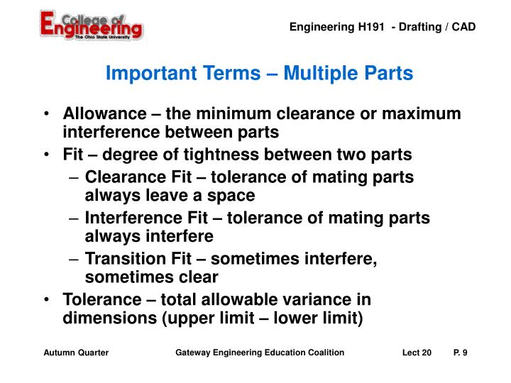 Important Terms – Multiple Parts