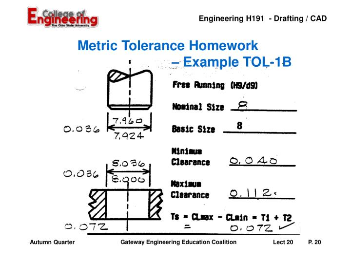 Metric Tolerance Homework