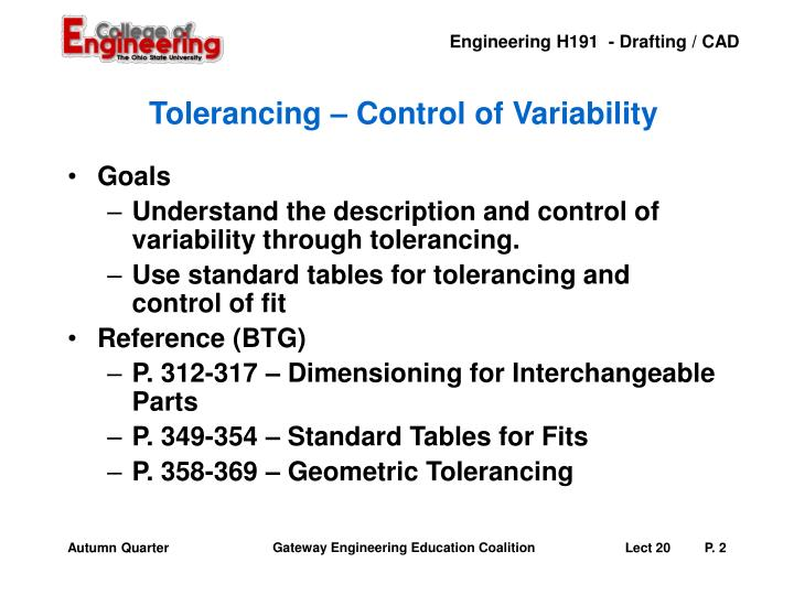 Tolerancing – Control of Variability
