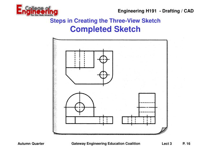 Steps in Creating the Three-View Sketch