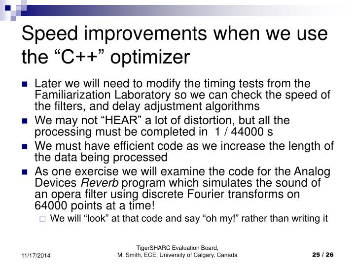 "Speed improvements when we use the ""C++"" optimizer"