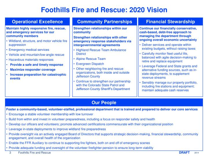 Foothills Fire and Rescue: 2020 Vision
