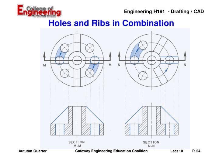 Holes and Ribs in Combination