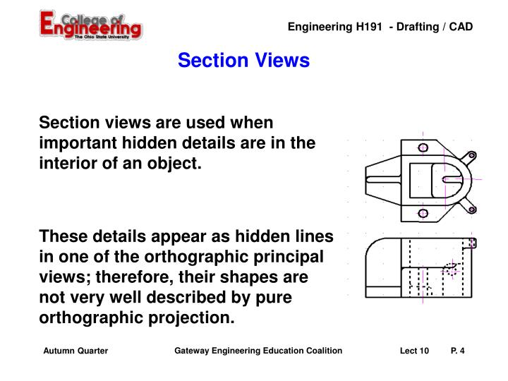 Section views are used when important hidden details are in the interior of an object.