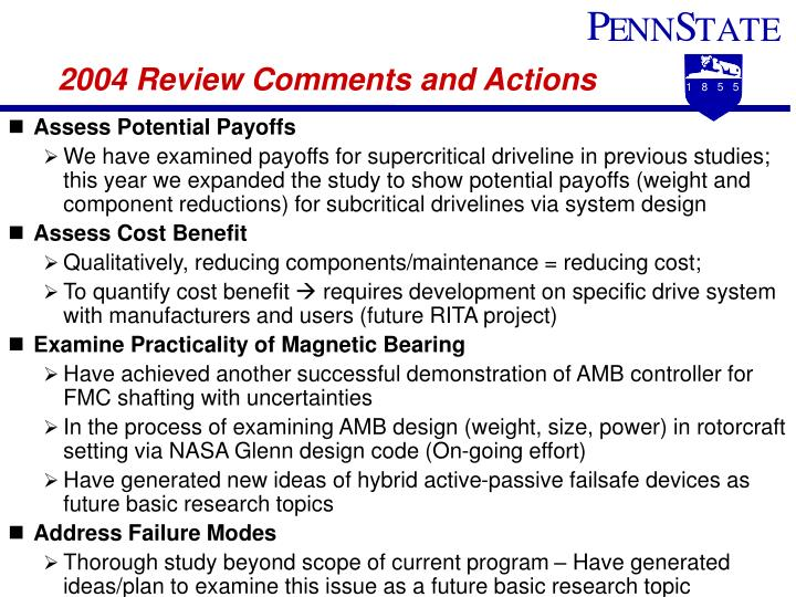 2004 Review Comments and Actions