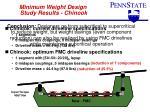 minimum weight design study results chinook