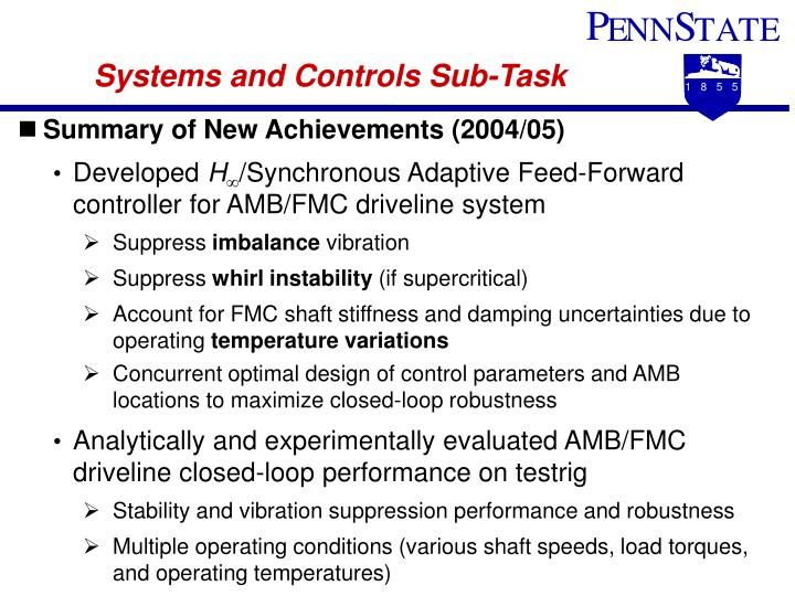 Systems and Controls Sub-Task