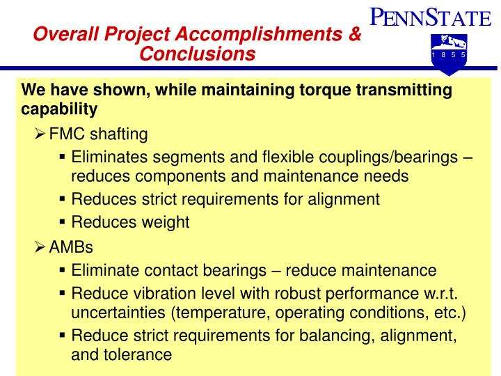 Overall Project Accomplishments & Conclusions