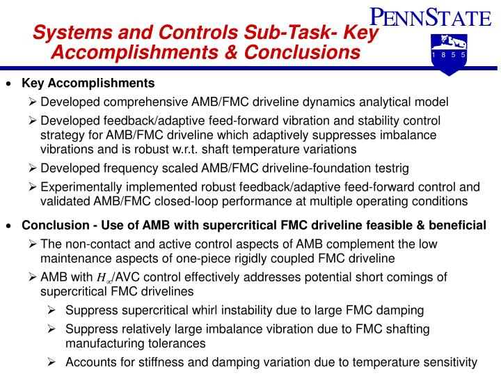 Systems and Controls Sub-Task- Key Accomplishments & Conclusions