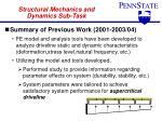 structural mechanics and dynamics sub task