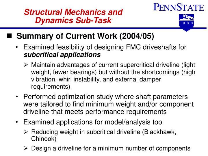Structural Mechanics and Dynamics Sub-Task