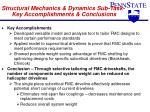 structural mechanics dynamics sub task key accomplishments conclusions