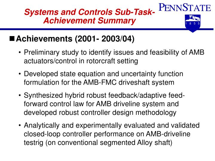 Systems and Controls Sub-Task- Achievement Summary