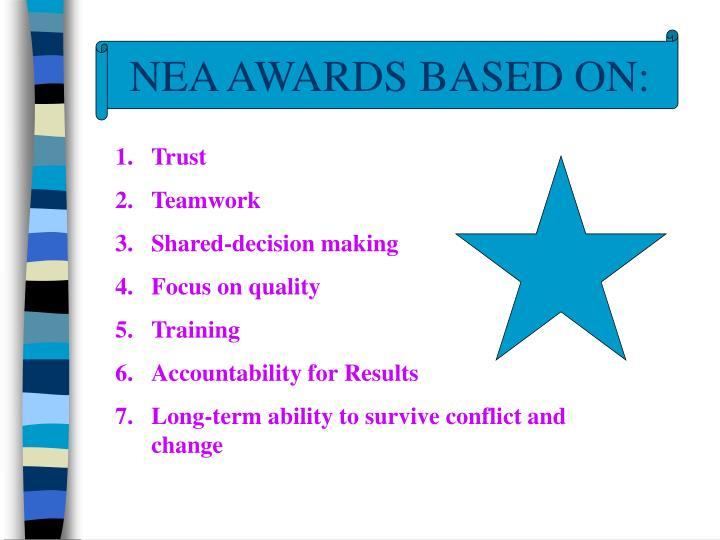 NEA AWARDS BASED ON: