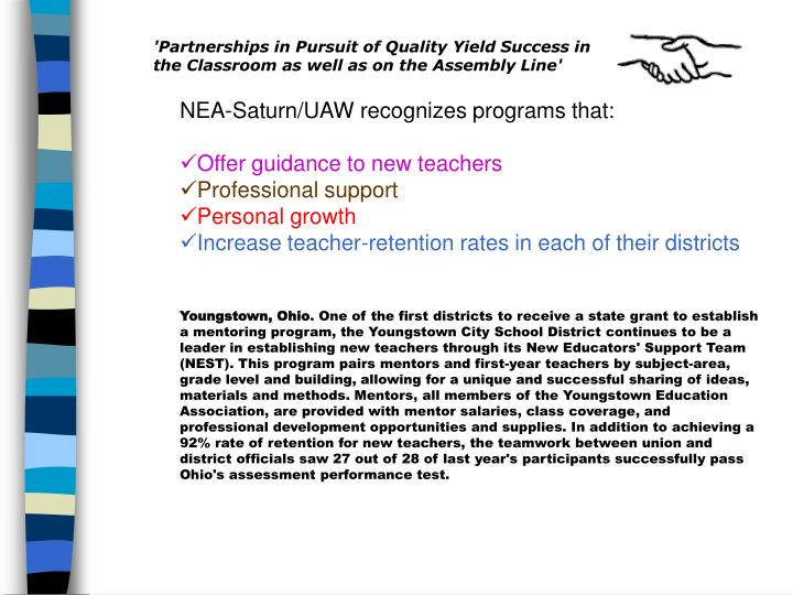 'Partnerships in Pursuit of Quality Yield Success in the Classroom as well as on the Assembly Line'