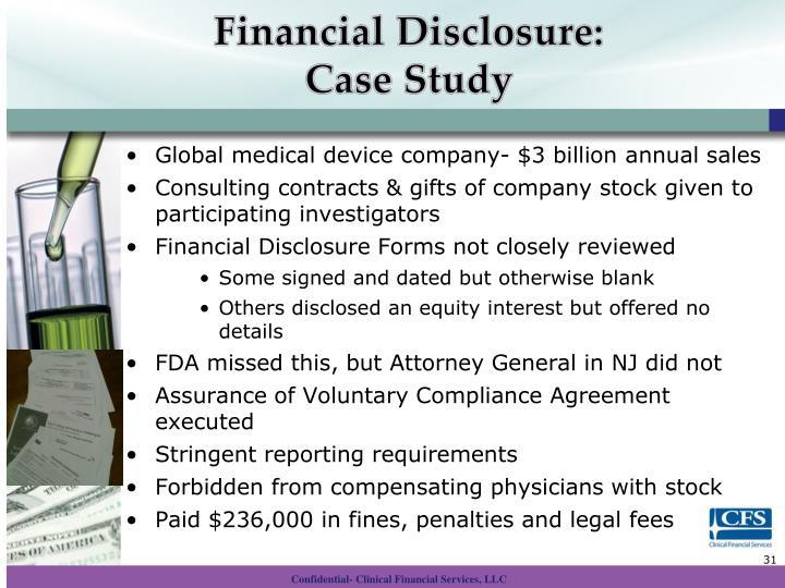 Financial Disclosure: