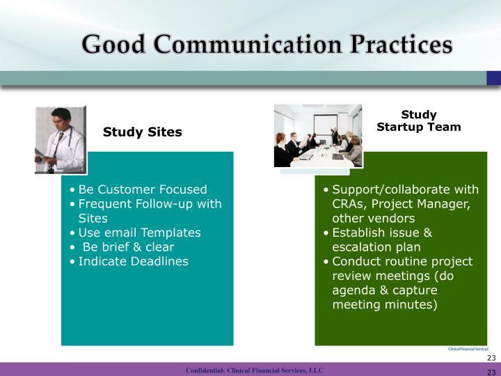Good Communication Practices